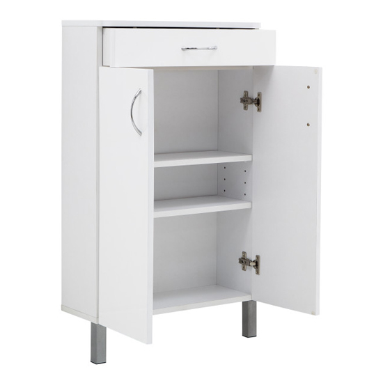 Mortos 2 Doors 1 Drawer Bathroom Cabinet In White High Gloss_6