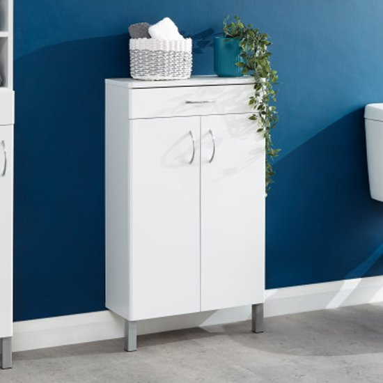 Mortos 2 Doors 1 Drawer Bathroom Cabinet In White High Gloss