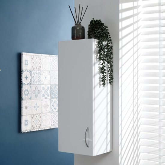 Mortos Wall Hung 1 Door Bathroom Cabinet In White High Gloss