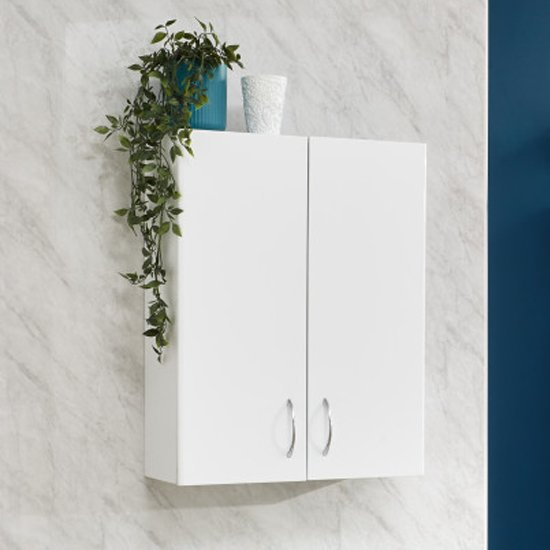 Mortos Wall Hung 2 Doors Bathroom Cabinet In White High Gloss