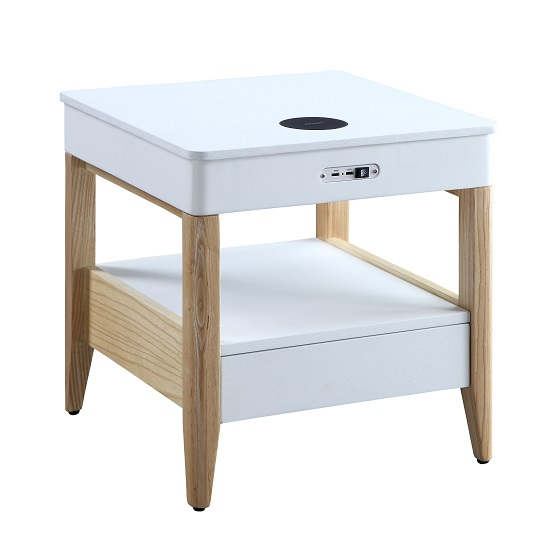 Morvik Bedside Table In White Ash With Bluetooth And Chargers_3