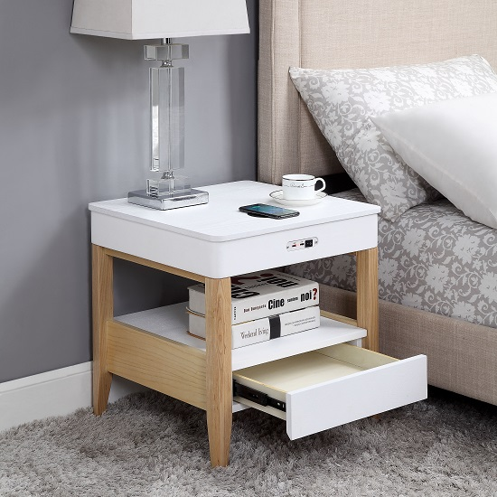 Morvik Bedside Table In White Ash With Bluetooth And Chargers_2