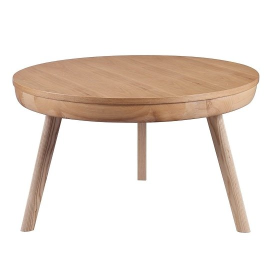 Morvik Wooden Coffee Table Round In Ash