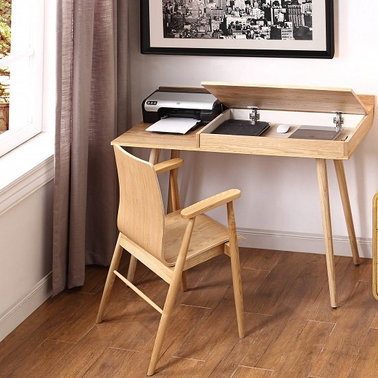 Morvik Wooden Computer Desk In Ash With Lift Up Lid_2
