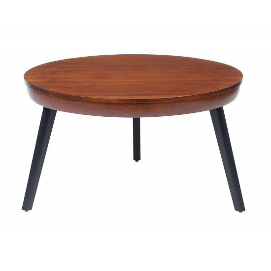 Morvik Wooden Coffee Table Round In Walnut