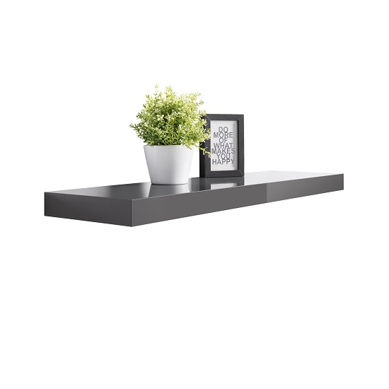 mosby floating wall shelf in high gloss grey 28832. Black Bedroom Furniture Sets. Home Design Ideas