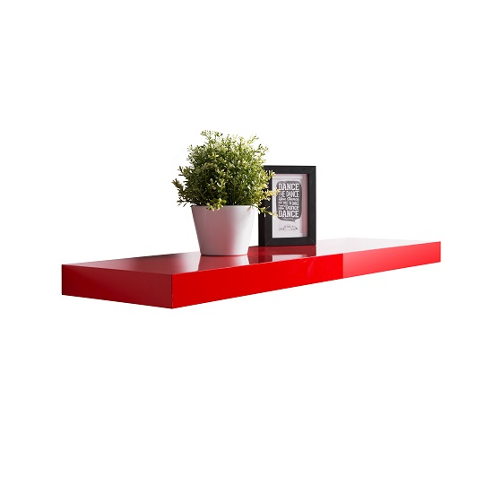 Mosby Floating Wall Shelf In High Gloss Red_1