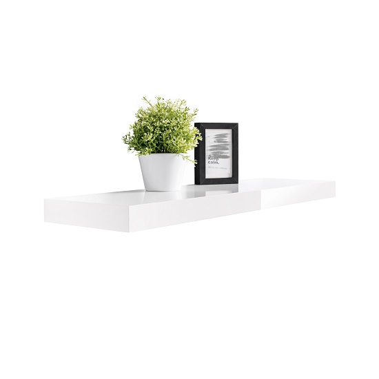 Mosby Floating Wall Shelf In High Gloss White