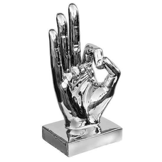 Wendy Modern Large OK Hand Sign Cermamic Sculpture In Silver