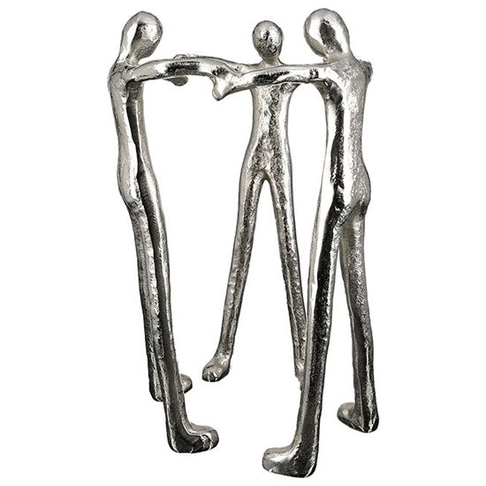 View Motivation aluminium three man sculpture in antique silver