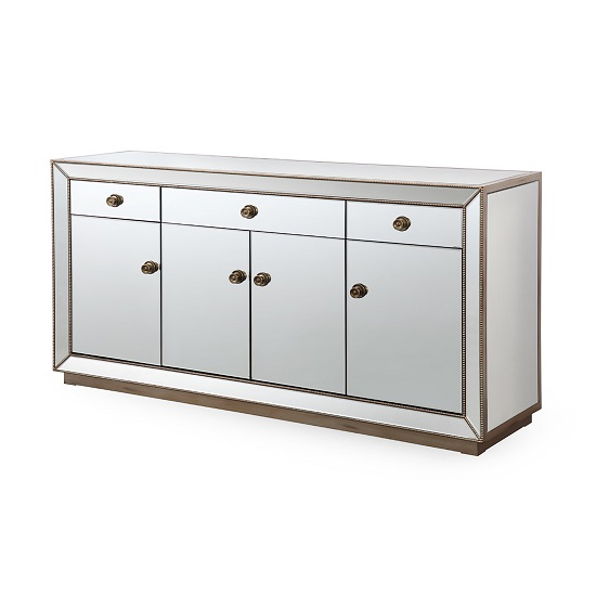 Moultrie Mirrored Sideboard In Silver Finish With Four Doors