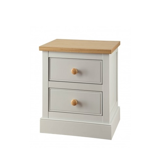 Movada Wooden Bedside Cabinet In Dove Grey With 2 Drawers