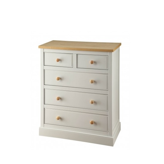 Movada Wooden Chest Of Drawers In Dove Grey With 5 Drawers