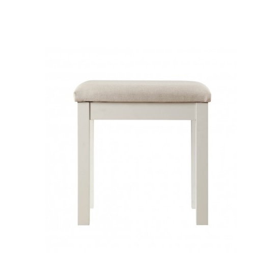 View Movada dressing table stool in dove grey with fabric seat