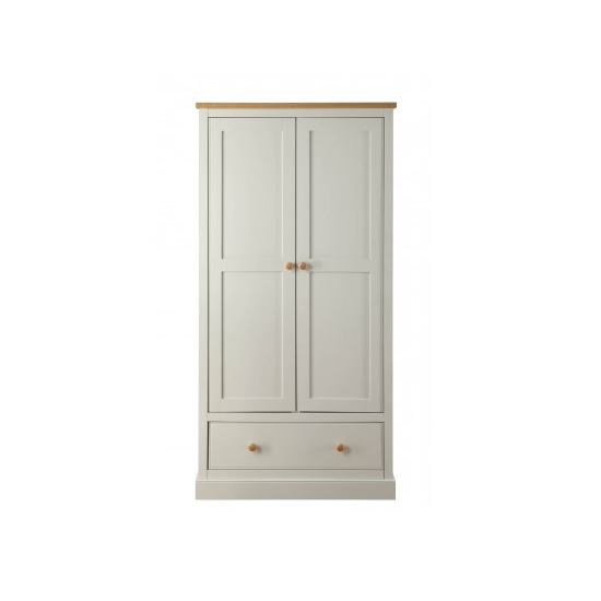 Movada Wooden Wardrobe In Dove Grey With 2 Doors