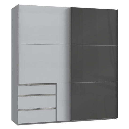 Moyd Mirrored Sliding Wardrobe In Grey And Light Grey