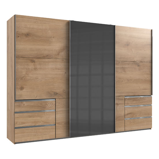 View Moyd mirrored sliding wardrobe in grey and planked oak 3 doors