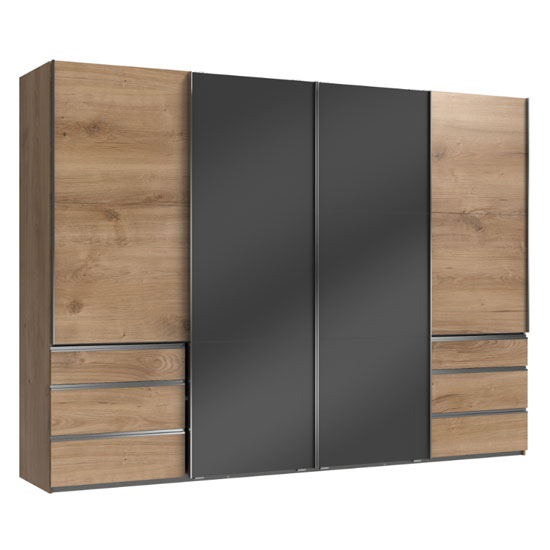 Moyd Mirrored Sliding Wardrobe In Grey And Planked Oak 4 Doors_1