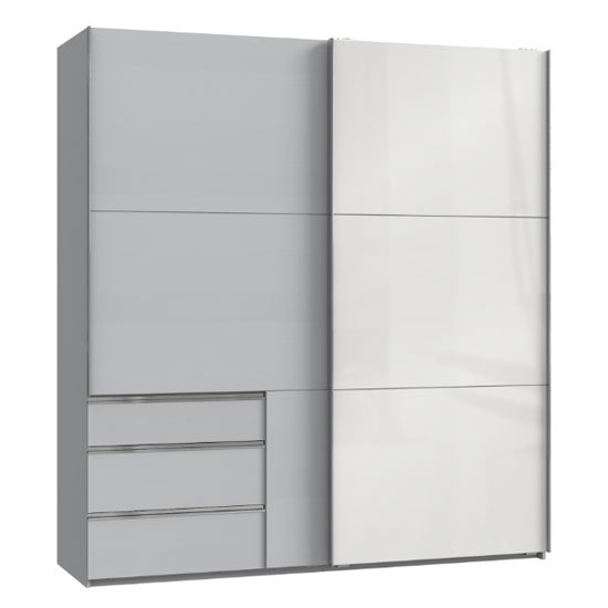Moyd Mirrored Sliding Wardrobe In White And Light Grey