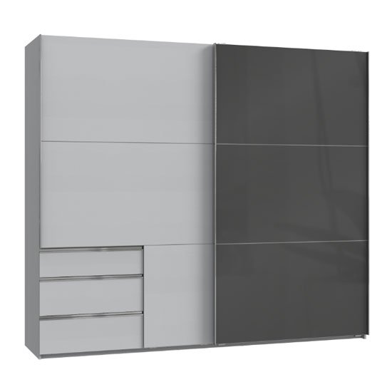 Moyd Mirrored Sliding Wide Wardrobe In Grey And Light Grey