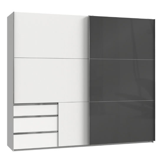 Moyd Mirrored Sliding Wide Wardrobe In Grey And White