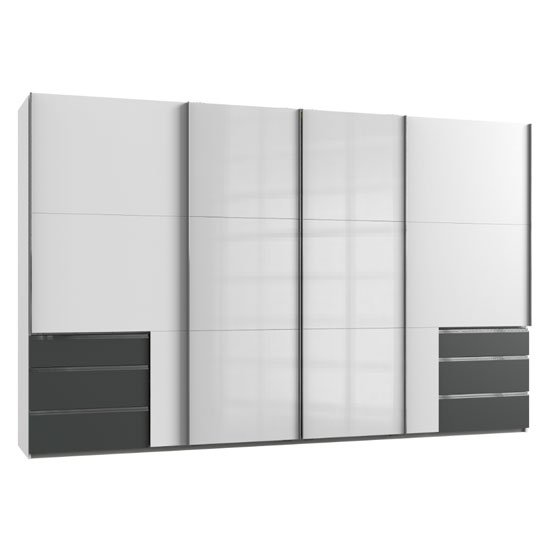 Moyd Mirrored Sliding Wide Wardrobe In White Graphite 4 Doors_1