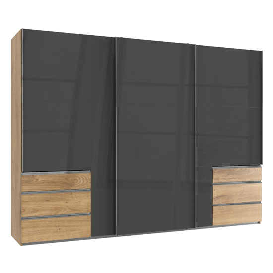 Moyd Wooden Sliding Wardrobe In Grey And Planked Oak 3 Doors