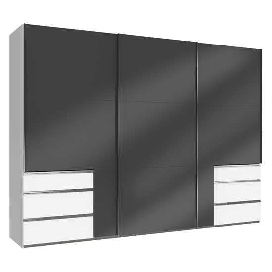Moyd Wooden Sliding Wardrobe In Grey And White 3 Doors