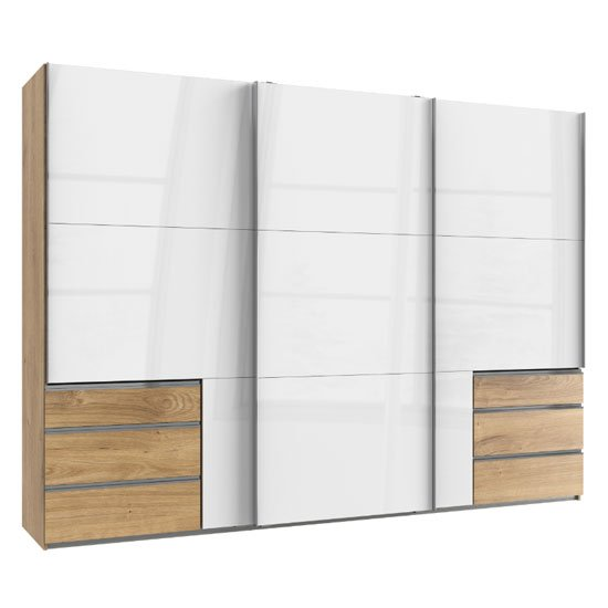Moyd Wooden Sliding Wardrobe In White And Planked Oak 3 Doors_1