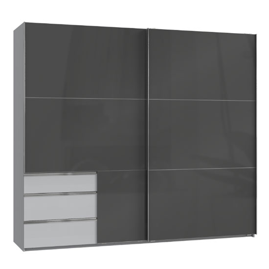 Moyd Wooden Sliding Wide Wardrobe In Grey And Light Grey