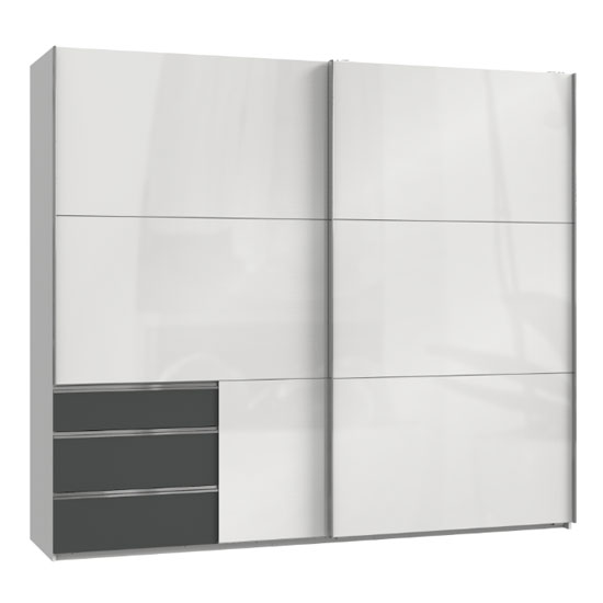 Moyd Wooden Sliding Wide Wardrobe In White And Graphite