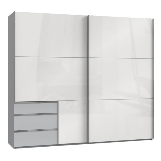 Moyd Wooden Sliding Wide Wardrobe In White And Light Grey