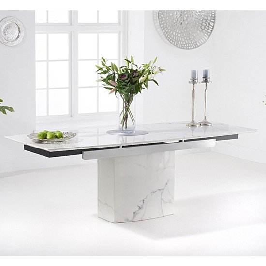 Molarity Marble Extending Dining Table In White