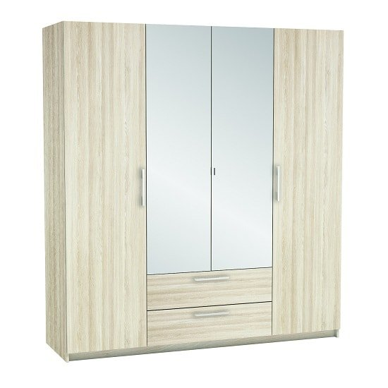 Mozart Mirrored Wardrobe In Shannon Oak And Linen With 4 Doors