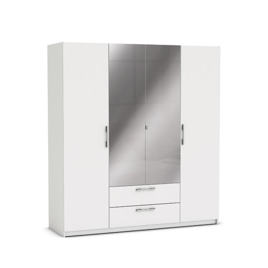 Mozart Mirrored Wardrobe In Pearl White And Linen