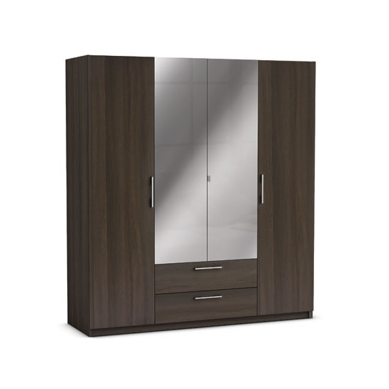 Mozart Mirrored Wardrobe In Vulcano Oak And Linen