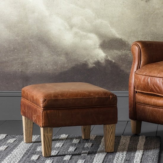 View Mr. paddington foot stool in vintage brown leather