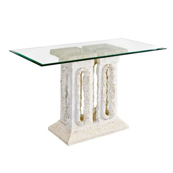 View Tower macatan stone console table with glass top