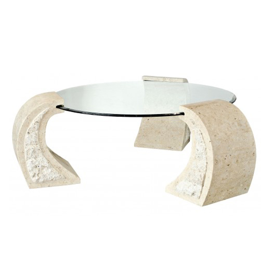 Stone And Glass Coffee Tables: Poisindon Macatan Stone Round Coffee Table In Clear Glass