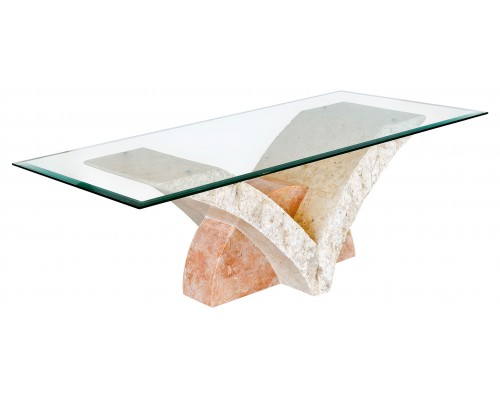 Uranie Stone Coffee Table In Clear Glass Top
