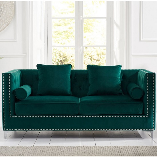 Mulberry Modern Fabric 3 Seater Sofa In Green Velvet_1