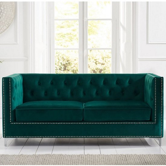 Mulberry Modern Fabric 3 Seater Sofa In Green Velvet_2