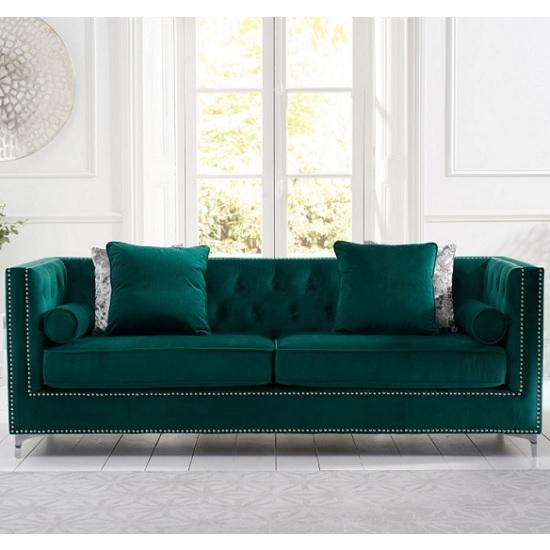 Mulberry Modern Fabric 4 Seater Sofa In Green Velvet