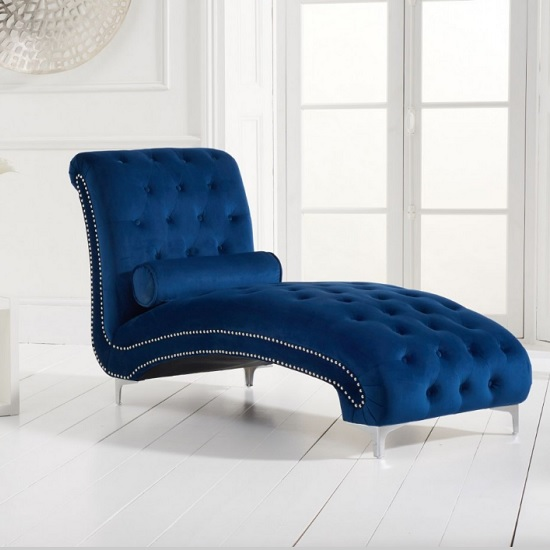 Mulberry Modern Fabric Lounge Chaise In Blue Velvet
