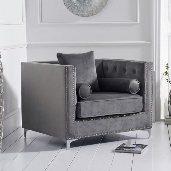 Mulberry Modern Fabric Sofa Chair In Grey Velvet