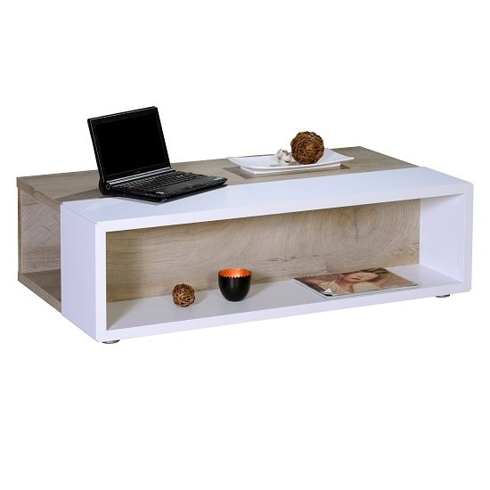 Muller Wooden Coffee Table In Distressed Effect And White