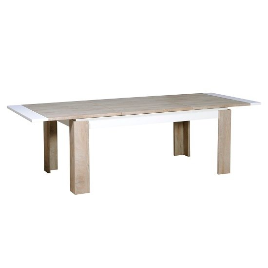 Muller Extending Dining Table In Distressed Effect And White