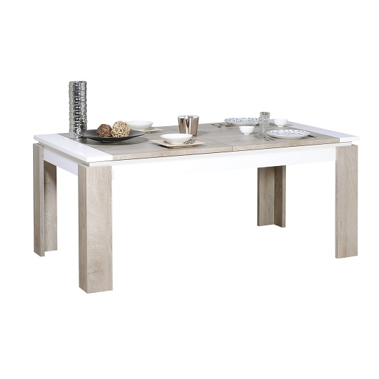 Muller Extending Dining Table In Distressed Effect And White_2