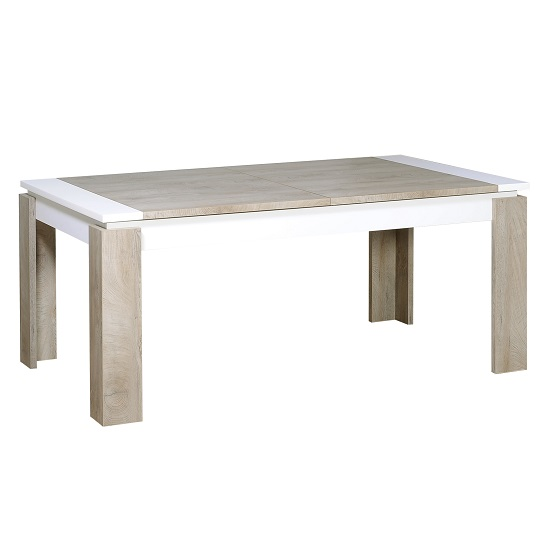 Muller Extending Dining Table In Distressed Effect And White_4