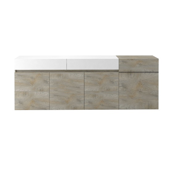 Muller Large Sideboard In Distressed Effect And White With LED_2